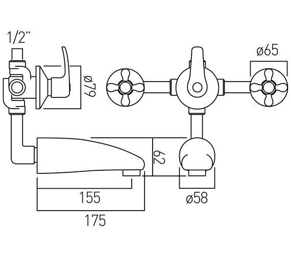 Technical drawing QS-V58700 / VIC-124/CD-C/P