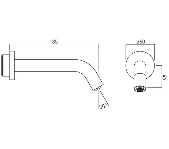 Technical drawing QS-V58772 / IR-WSPOUT-C/P