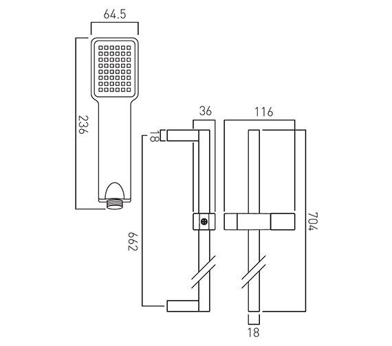 Technical drawing QS-V58878 / WG-V2KIT-C/P