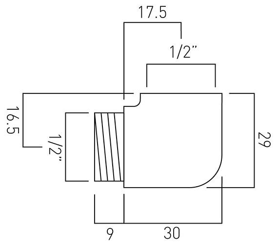 Technical drawing QS-V58966 / WG-130ELBOW-C/P