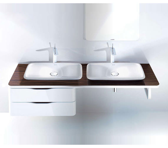 Duravit Puravida 1600mm Back-To-Wall Ebony Console With 2 Cut-Outs Image