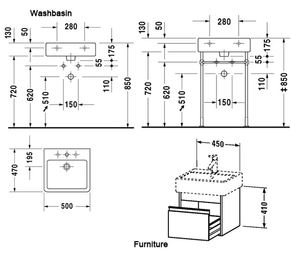 Image 2 of Duravit Ketho 450mm 1 Drawer Unit With Vero 500mm Basin