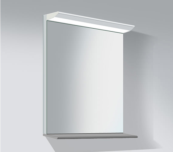 Duravit Darling New 600mm Mirror With Lightning And Wooden Shelf