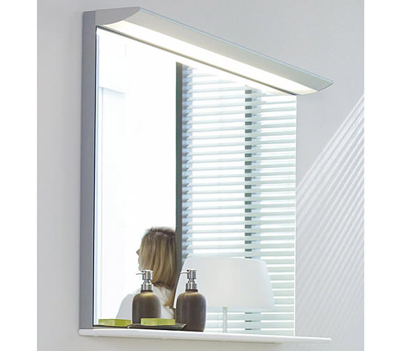 Image 3 of Duravit Darling New 600 x 800mm Mirror With Lightning And Wooden Shelf