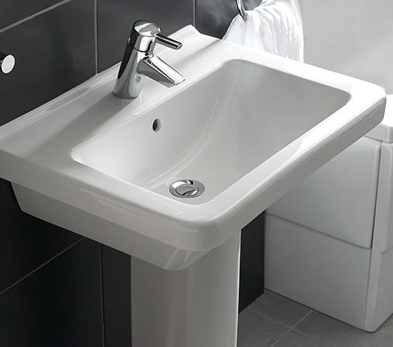 Additional image of Vitra S50 Square Washbasin 65cm With Full Pedestal - 5311L003-0999