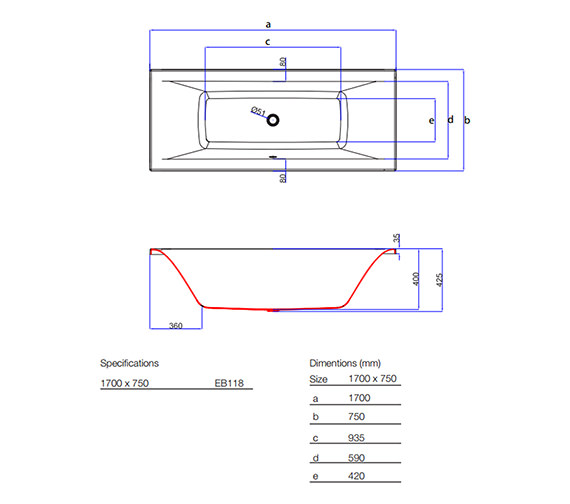 Technical drawing QS-V59850 / EB118