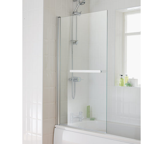 Essential Eclipse Square Bath Screen With Towel Rail 800x1400mm - EB303