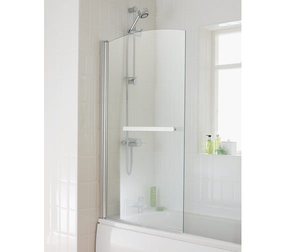 Essential Twilight Bath Screen With Towel Rail 800x1400mm - EB302