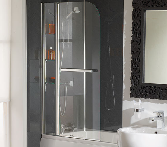 Essential Cascade Bath Screen With Rail And Glass Shelves - EB304