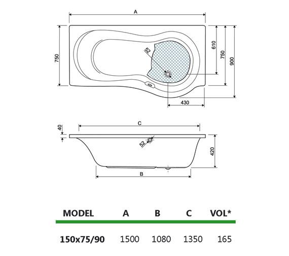 Technical drawing QS-V59954 / 154IRIS15LH