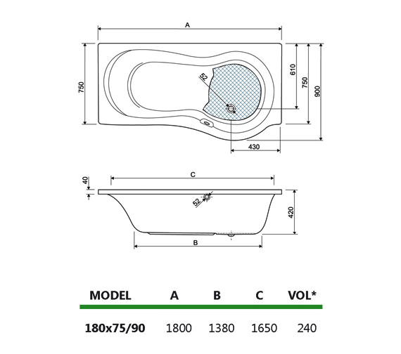 Technical drawing QS-V59957 / 154IRIS18LH