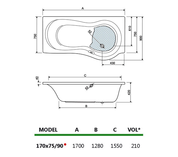 Technical drawing QS-V38471 / 200IRIS17LHCWS11