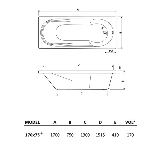 Technical drawing QS-V34684 / 200MODENA1775CWS08