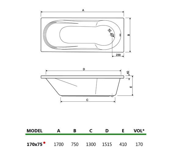Technical drawing QS-V34684 / 200MODENA1775CWS08