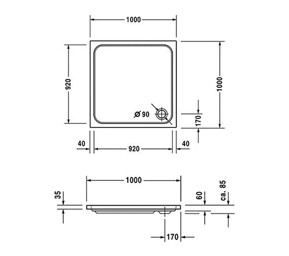 Shower Tray 700mm x 1000mm Shower Tray 1000 x 1000mm