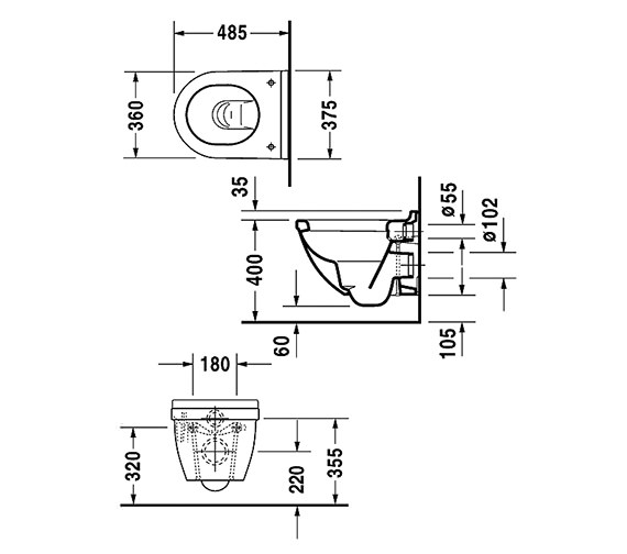 Additional image of Duravit Starck 3 Compact Wall Hung Toilet