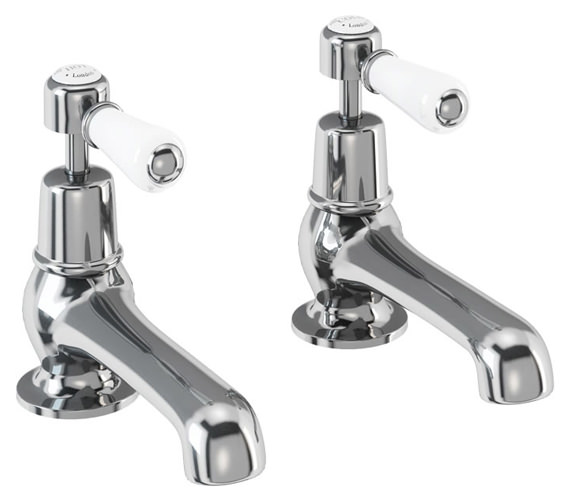 Burlington Kensington Regent Chrome Plated Bath Pillar Taps - KER3