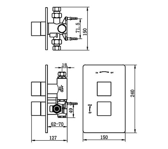 Technical drawing QS-V70599 / 83050
