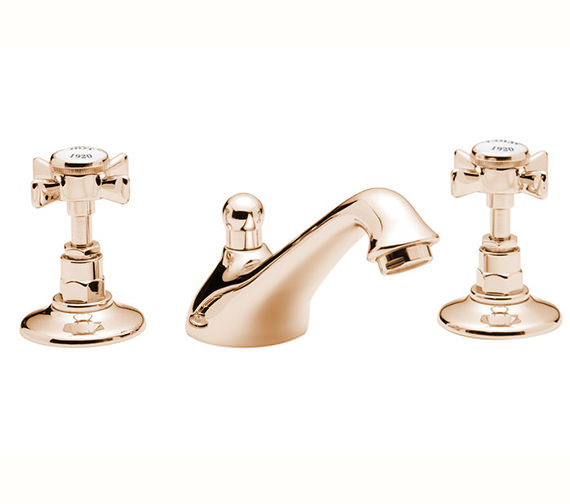 Tre Mercati Imperial 3 Hole Basin Mixer Tap With Pop Up Waste Gold