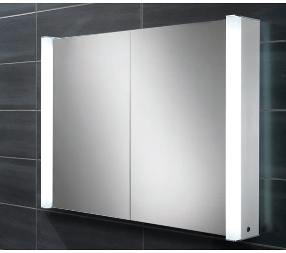 HIB Vector Double Door Illuminated Aluminium Mirrored Cabinet 1000 x 760mm