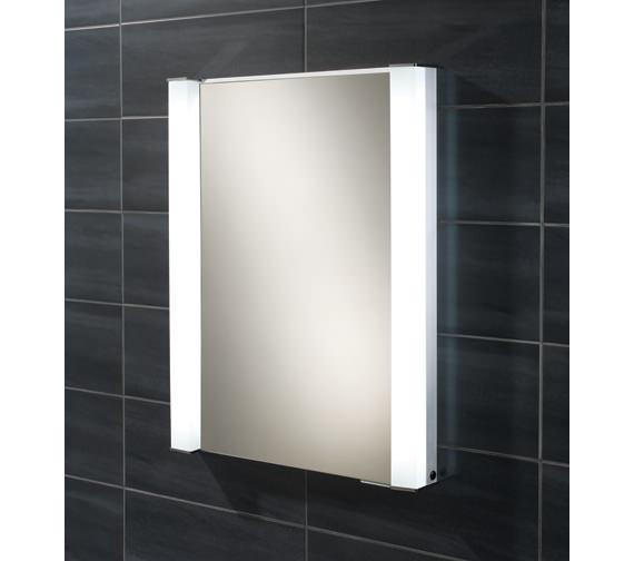 HIB Parity Single Door Recessed Aluminium Mirrored Cabinet 600 x 760mm