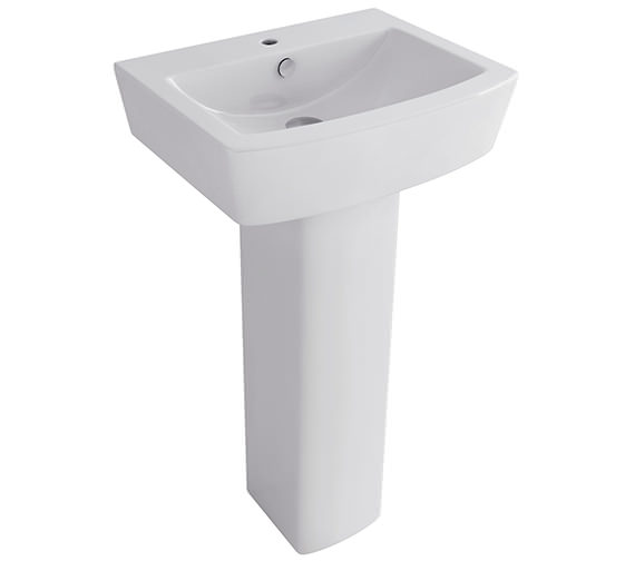 Pura Bloque 550mm 1 Tap Hole Basin With Full Pedestal