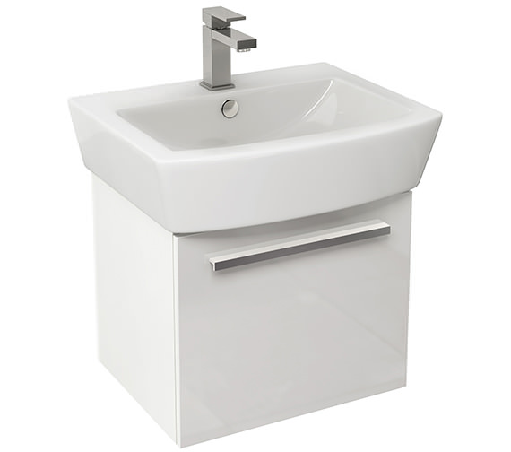 Pura Bloque 470mm Wall Hung Single Drawer Unit And 550mm Basin Gloss White