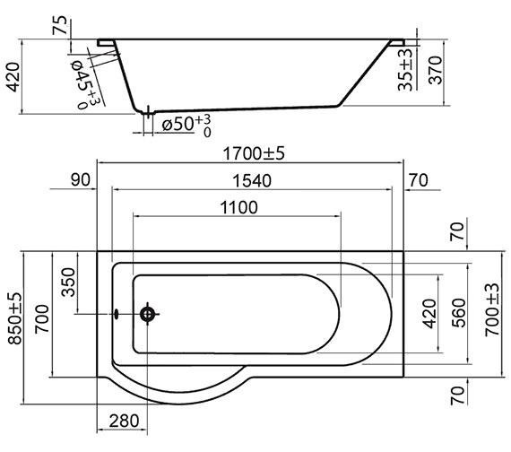 Technical drawing QS-V72245 / PBSBLH17