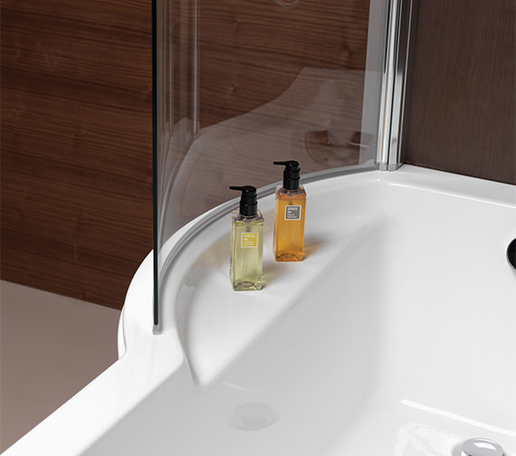 Alternate image of Pura Arco Eco Left Hand 1500 x 850mm Shower Bath With Undrilled Overflow