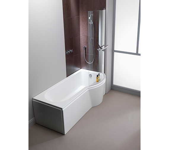 Additional image of Pura Arco Eco Right Hand 1700 x 850mm Shower Bath With Undrilled Overflow