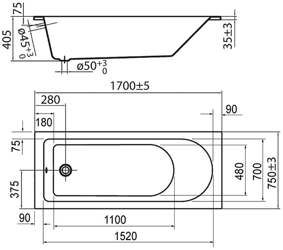 Technical drawing QS-V72261 / PBSE17X75UD