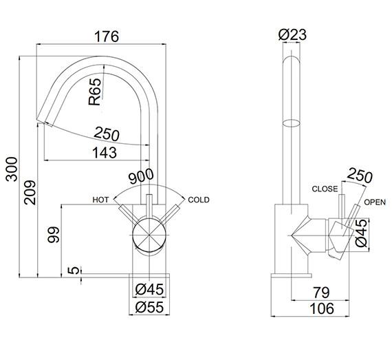 Technical drawing QS-V72539 / PRO111DNJ
