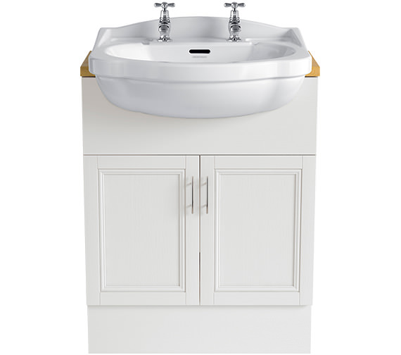 Heritage Caversham White Ash 640mm Double Door Furniture Vanity Unit