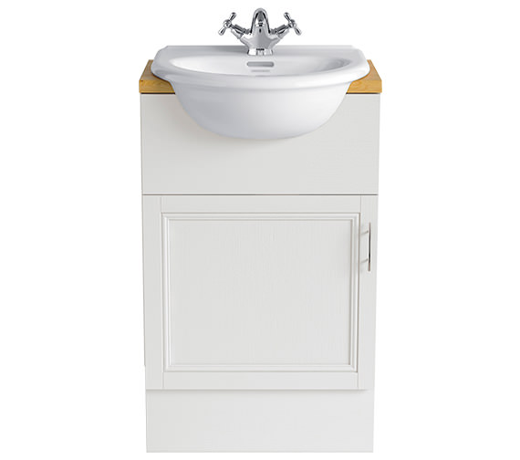 Heritage Carversham White Ash 500mm Single Door Furniture Vanity Unit