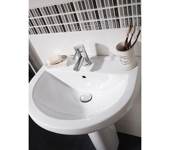 Additional image of Beo Capital 550mm 1 Tap Hole Basin And Full Pedestal