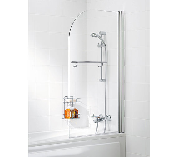 Lakes Classic 800mm Curved Bath Screen With Towel Rail Silver