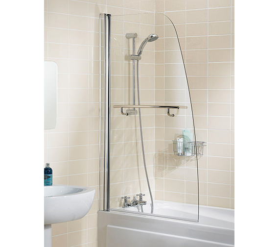 Lakes Classic 860mm Silver Sculpted Bath Screen With Towel Rail