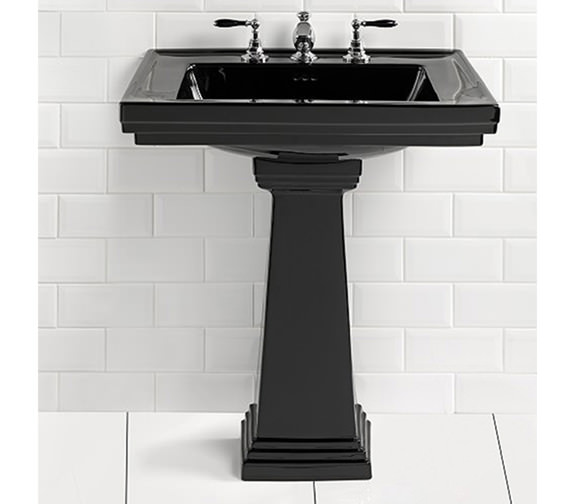 Imperial Astoria Deco 520mm Small Basin With Small Pedestal - Black