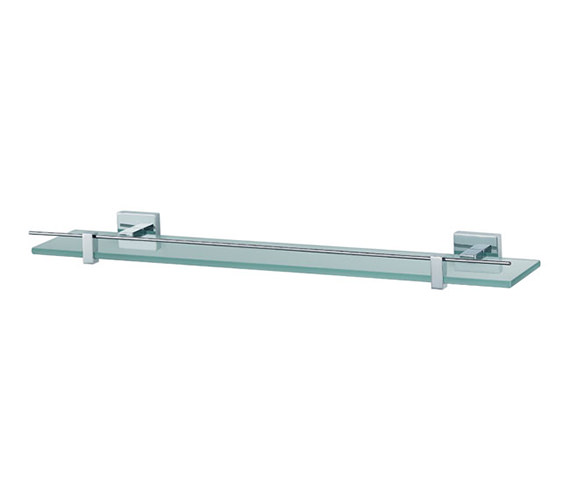 Aqualux Haceka Mezzo 600mm Toughened Glass Shelf Chrome - 1118345