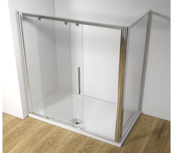 Original straight 1000mm sliding shower door with tray and for 1000mm sliding shower door