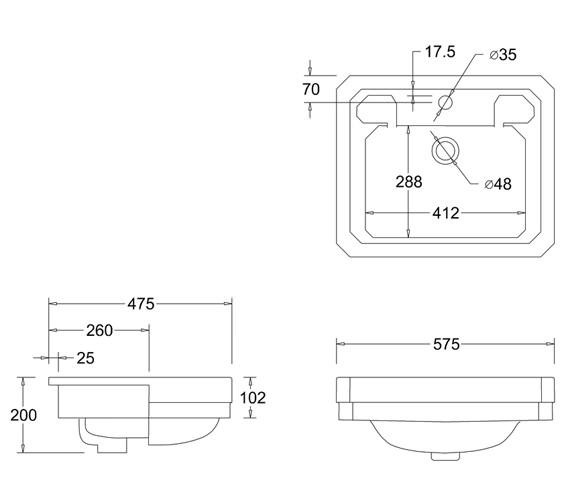 Technical drawing QS-V74080 / B12 1TH