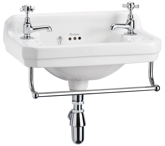 Burlington Edwardian Wall Mounted 510mm Cloakroom Basin And Towel Rail