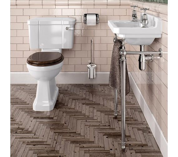 Burlington Cloakroom Slimline Toilet And Edwardian Basin With Wash Stand