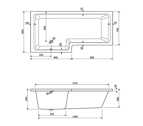 Technical drawing QS-V75053 / 154THAMES17LH