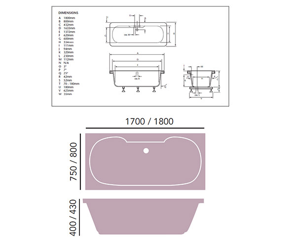 Additional image of Heritage Dorchester Acrylic Double Ended Fitted Bath