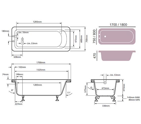 Technical drawing QS-V76061 / BRT1775S2TH