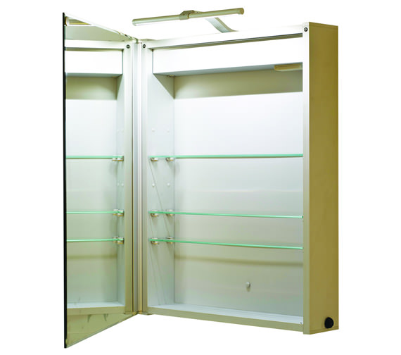 Alternate image of RAK Solitaire Luxury Aluminium LED 550 x 700 Single Door Mirror Cabinet