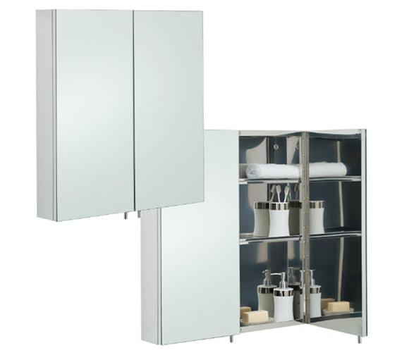 RAK Delta Stainless Steel 670 x 600mm Double Door Mirror Cabinet