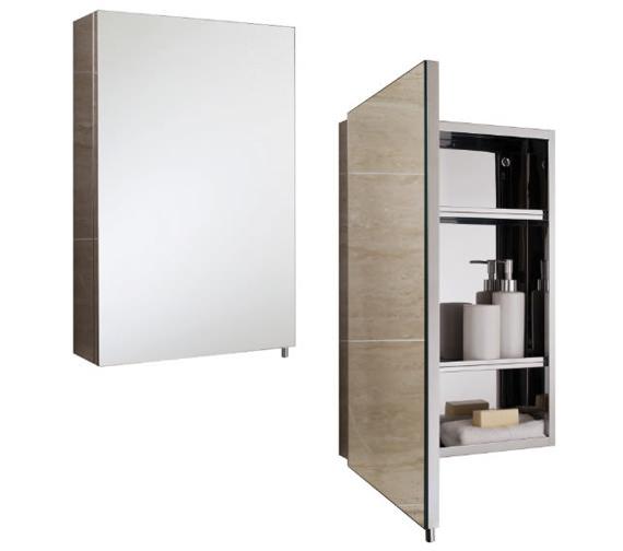 RAK Cube Stainless Steel 400 x 600mm Single Door Mirror Cabinet