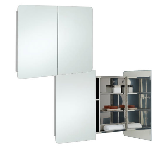 RAK Duo Stainless Steel 800 x 660mm Double Door Mirror Cabinet